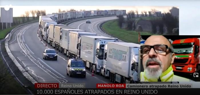 Hasta 25 camiones de Transportes Caudete están retenidos en las colas del Eurotúnel y los puertos